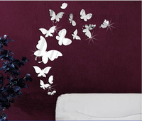Min order 15 usd ( Mix items)14pcs 3D fly butterfly wall mirror sticker different size design acrylic mirror