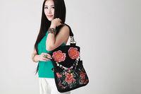 National trend three-dimensional embroidered bag shoulder bag canvas bag messenger bag