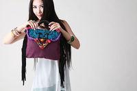 National trend double faced embroidered bag tassel handbag messenger bag canvas bag