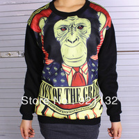 A080 Free Shipping Loose Stylish Round Neck Monkey Print Long Sleeve Unisex Coat