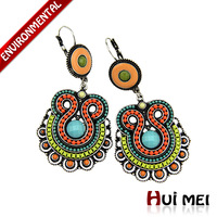 Fashion Vintage Ethnic Women Exaggerated Silver Plated Bohemia Colorful Beads Statement Clip Earrings Jewelry