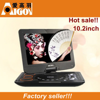 10.2 inch HD LED portable Home DvD Player 3D FM Radio USB Game CD Best for traveling/ Elderly Entertainment/Children learning