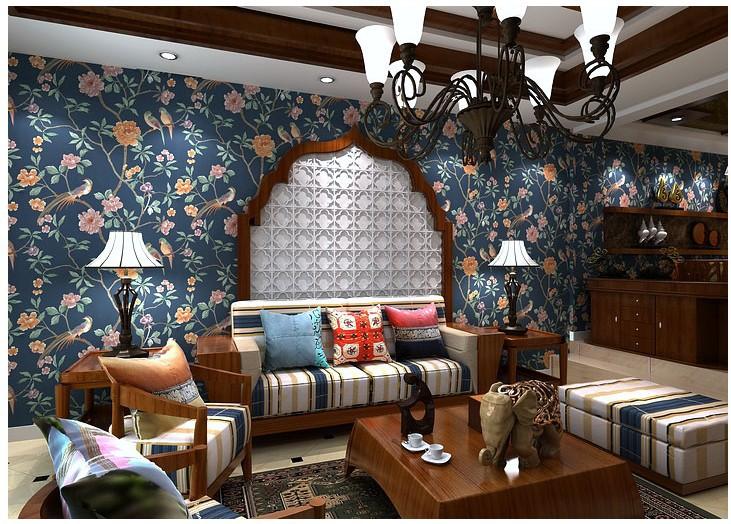 Slaapkamer Donkerblauw : Dark Blue Living Room Wallpaper