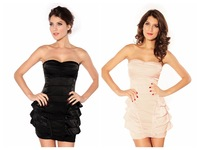New Arrival! Fashion Dress,Sexy Mini Backless Clubbing Dresses,Black/Beige Color,One Size, DL2626
