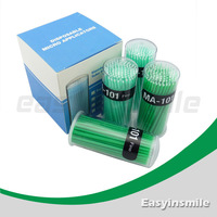 Free shipping easyinsmile400 Pcs Disposable Micro Applicator Brush Bendable Fine Green Dia.2 MM for dentist