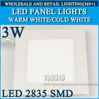 Wholesale 50pcs High brightness LED Panel Lights ceiling lighting Square 3W 2835SMD Cold white/warm white AC85-265V