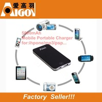 Free Shipping High Quality USB Mobile Portable Charger/Power Bank External Battery  5000mAh For iPad iPhone Mobile Phone