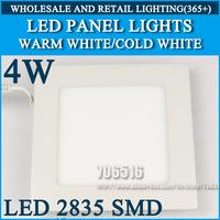 Wholesale 40pcs High brightness LED Panel Lights ceiling lighting Square 4W 2835SMD Cold white/warm white AC85-265V
