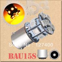 2pcs 1156 BAU15S PY21W 13 SMD 5050 Amber / Yellow Tail Turn Signal 13 LED Car Light Bulb