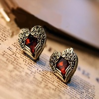 Wholesale! Vintage jewelry fashion earring vintage red heart gem wings stud earring!!