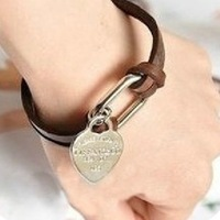 Wholesale! Leather bracelet charm couple models, heart pendant bracelet!