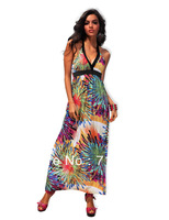 2013 New Design Sexy Clubwear Print Bohemian Style Long Dress Backless Sexy Women's Casual Dress Free Shipping X4182