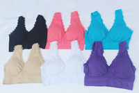 wholesale price  high quality Genie sport seamless Bra women with lace and pad Yoga bra 6 colors available