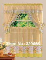 curtain fabric  Fashion Print Kitchen Curtain Coffee Curtain 5 Set Elegant Curtain Of a Variety Of Utility Household Curtain