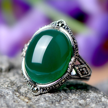 Free Shipping 925 pure silver women's ring fashion vintage natural green agate ring female