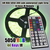5M 300 LEDs RGB 5050 SMD Led Strip Waterproof Light Strip + 44 key IR Remote Control !! Free shipping!!