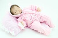 "18"" Soft silicone vinyl reborn baby doll Lifelike newborn  Baby Girl Doll realistic handmade doll Children gift"