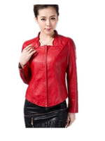 Free Shipping 2015 Autunmn women's Faxu leather  Short Jackets,female o-neck slim leather Coat Big size M-5XL