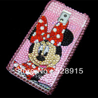 1 pcs/lot New Arrival Cute Mickey Minnie Mouse Bling Diamond Crystal Rhinestone Case Cover For LG 2x G2x Optimus P990