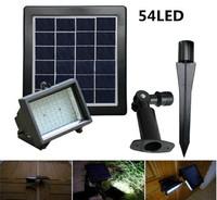 solar powered outdoor landscape lighting 4.5w 54led solar panel garden flood spotlights sensor solar led lawn lamps light