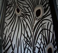 Designer Peacock Velvet  Wallpaper Roll Dark  Wallcoverings Background TV Wall Mural Fine Flocked  Feather Wallpaper