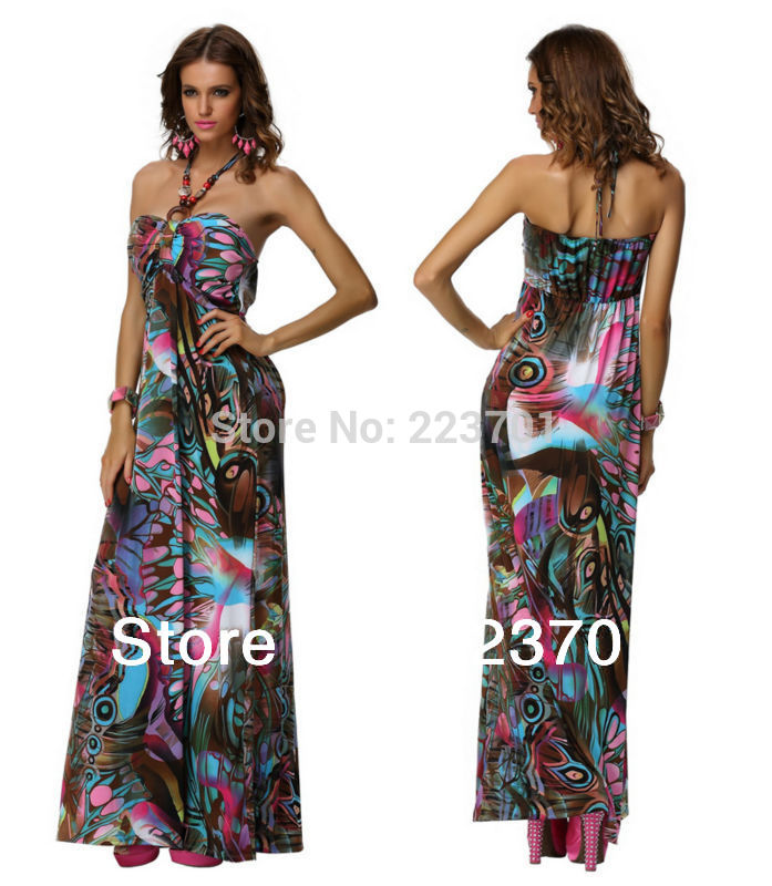 M XXL Plus Size New Fashion Beading Floral Printed Maxi Dress Long Summer Beach Dress(China (Mainland))