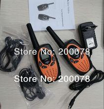 Free shipping 1W long range wireless talkie walkie earpiece 2 way radio walkie talkie up to 8km+ charger + earphones (orange)