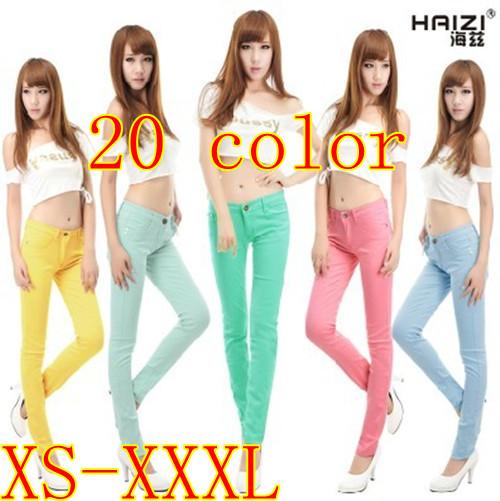 XS-XXXL plus-size 22 Color womens spring autumn casual denim skinny jeans women overalls elastic pencil pants female(China (Mainland))