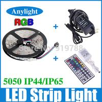 5M 5050 RGB Led Strip Light 300 Flexible SMD LED Strip Lighting +44 Key IR Remote+ 12V 5A Power WLED19