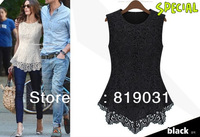 2013 Spring Summer New Fashion Women Lined 100% Cotton Lace European American Sexy Sleeveless White Black dress Free Shipping