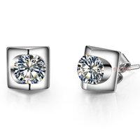 Wholesale promotion 1ct sterling silver synthetic diamond earrings for women earring synthetic diamond stud wedding earrings