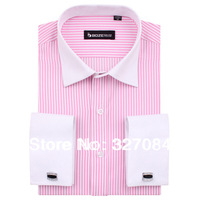 [FS14] Men Shirt  2013 new long sleeve pink and white collar striped Shirts For Men High Quality Low price wholesale FS14