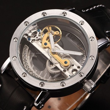 SHENHUA Steampunk Transparent Skeleton Crystal Flywheel Automatic Genuine Leather Strap Dress Men's Mechanical Watch / PMW150