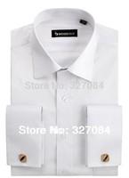 mens business shirts french cuff  2015 Brand men shirt mens clothing Plus mens button up long sleeve xxxl 4xl