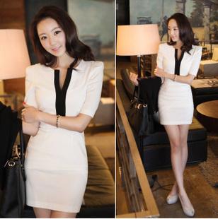 New-fashion-2013-Novelty-Cotton-Half-Sleeve-Bodycon-White-Business
