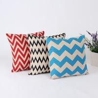 Wholesale Chevron Zig Zag Linen Throw Cushion Cover Pillow Case for Home Decoration Christmas Gifts ,3 Pcs/Set,45*45CM