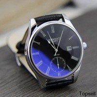 Fashion classic Genuine  leather  quartz watch stainless steel couple watches  calendar with blue glass honorable unisex watch