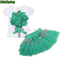 IN STOCK! Girls clothing sets Lovely Big flower T-shirt + tutu skirt  Girl suits set  Summer clothes 4 sets/lot ELZ-T0102