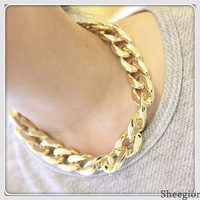 2013 New Design Necklaces CCB Gold Plated Chunky Punk Chain Choker All-match Bib Statement Women Fashion Free Shipping