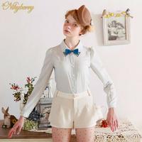 Free Shipping Nikyberry Blouses For Women New 2014 Chiffon Shirts  Rhinestone Collar Light Blue S M Plus Size W83031