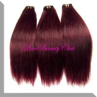 22'' ombre Hair Extensions 40g/pcs #99j Red Wine Color brazilian Remy Human Hair Extensions,Good Quatity Hair,2pcs/lot