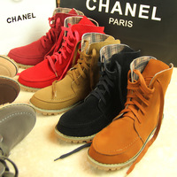 Large size 33-43 women flat motorcycle ankle boots female suede leather cow muscle martin boots women's shoes