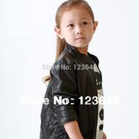 Free shipping  2014 children's clothing child fashion PU female child clothing jacket short zipper-up design