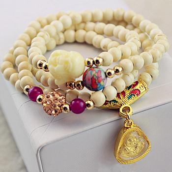 2013 New Fashion Jewelry Buddha Bracelet Bangles Long Mixed Alloy And Acrylic Wrap Charm Bracelet