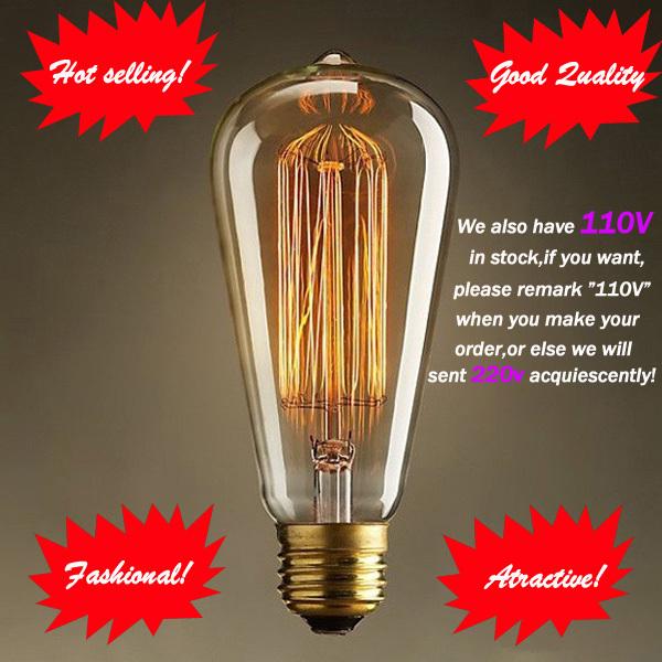 Fashion Incandescent Vintage Light Bulb,DIY Handmade Edison Bulb Fixtures,E27/220V/40W 60*140(mm),lamp Bulbs For Pendant Lamps(China (Mainland))