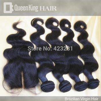 Brazilian Virgin Hair 5pcs body wave middle part Lace closure with 4pcs bundle Unprocessed Hair Extention body wave