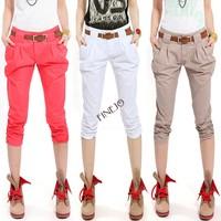 3pcs/lot With Belt Fashion Casual Harem Pants Slim Cropped Capri Trousers 5 Colors B16 14203