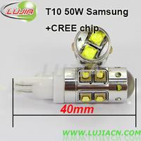 Free shipping 2pc/lot T10 cree 50W ,DC 12V high power LED car light ,T10 reverse light, turning light,T15,H1,H3, 880,881