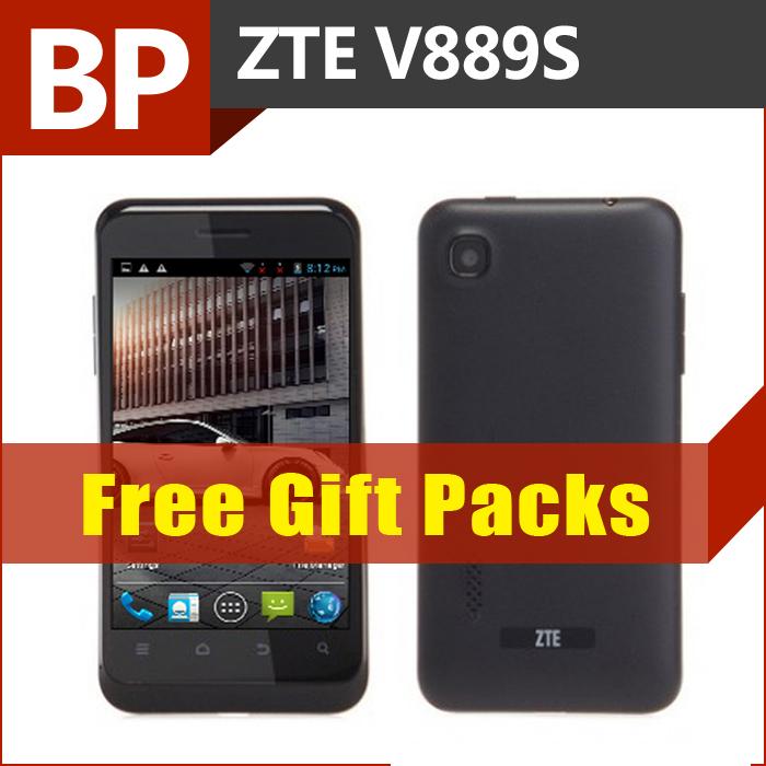 In magazzino originale zte v889s 4 pollici 800x480 mtk6577 telefono dual core mobile Android 4.1 nero 512mb 4gb wifi gps bt