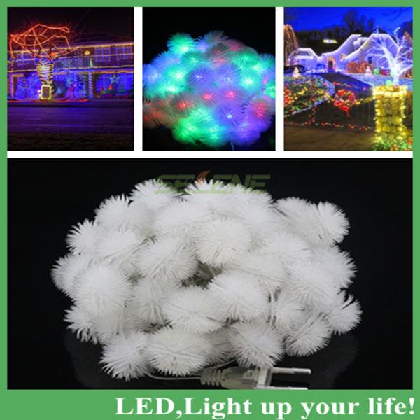 50LED 9M White LED String Snow Pompon led Christmas Light /Wedding/Party Decoration String Lights AC110V/220V Free Shipping(China (Mainland))
